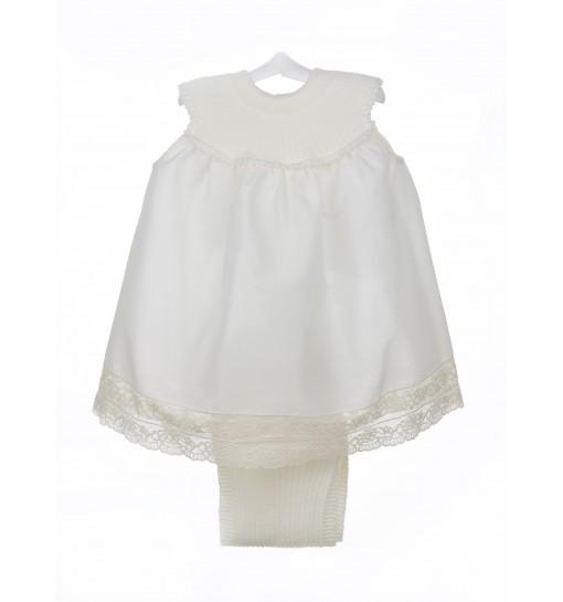 Vestido de organdí con encaje de Alençon y cubrepañal a juego de algodón