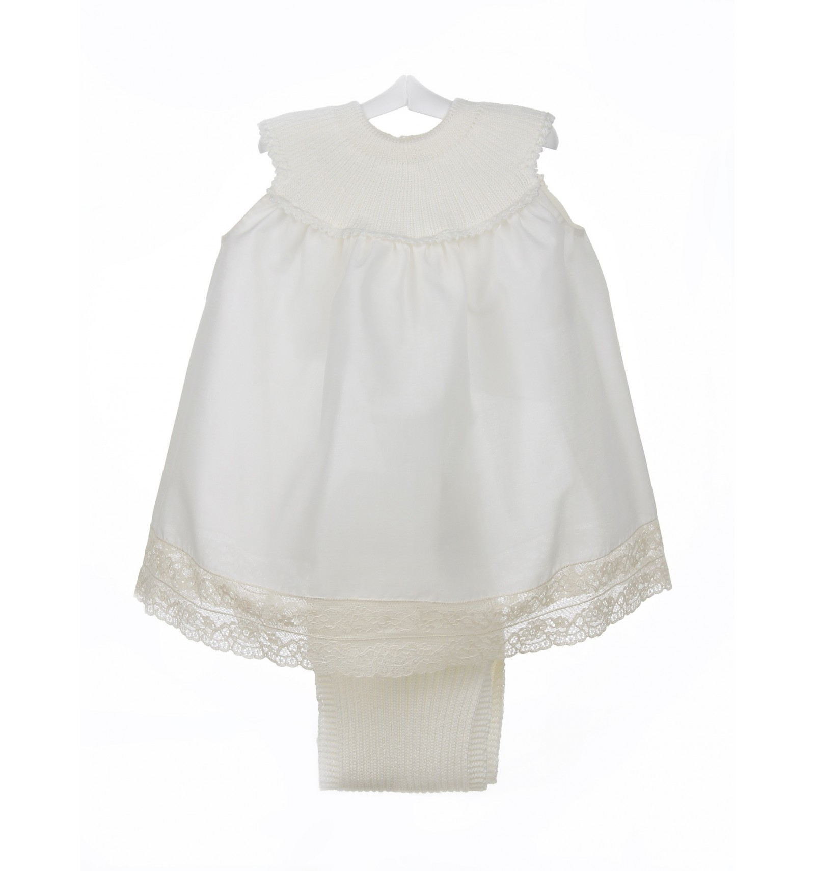 Vestido de organdí con encaje de Alençon y cubrepañal a juego de algodón 230e52ca7c6