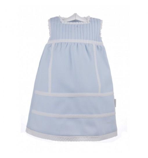 Vestido de bebé de piqué con jaretas y entredoses de batista