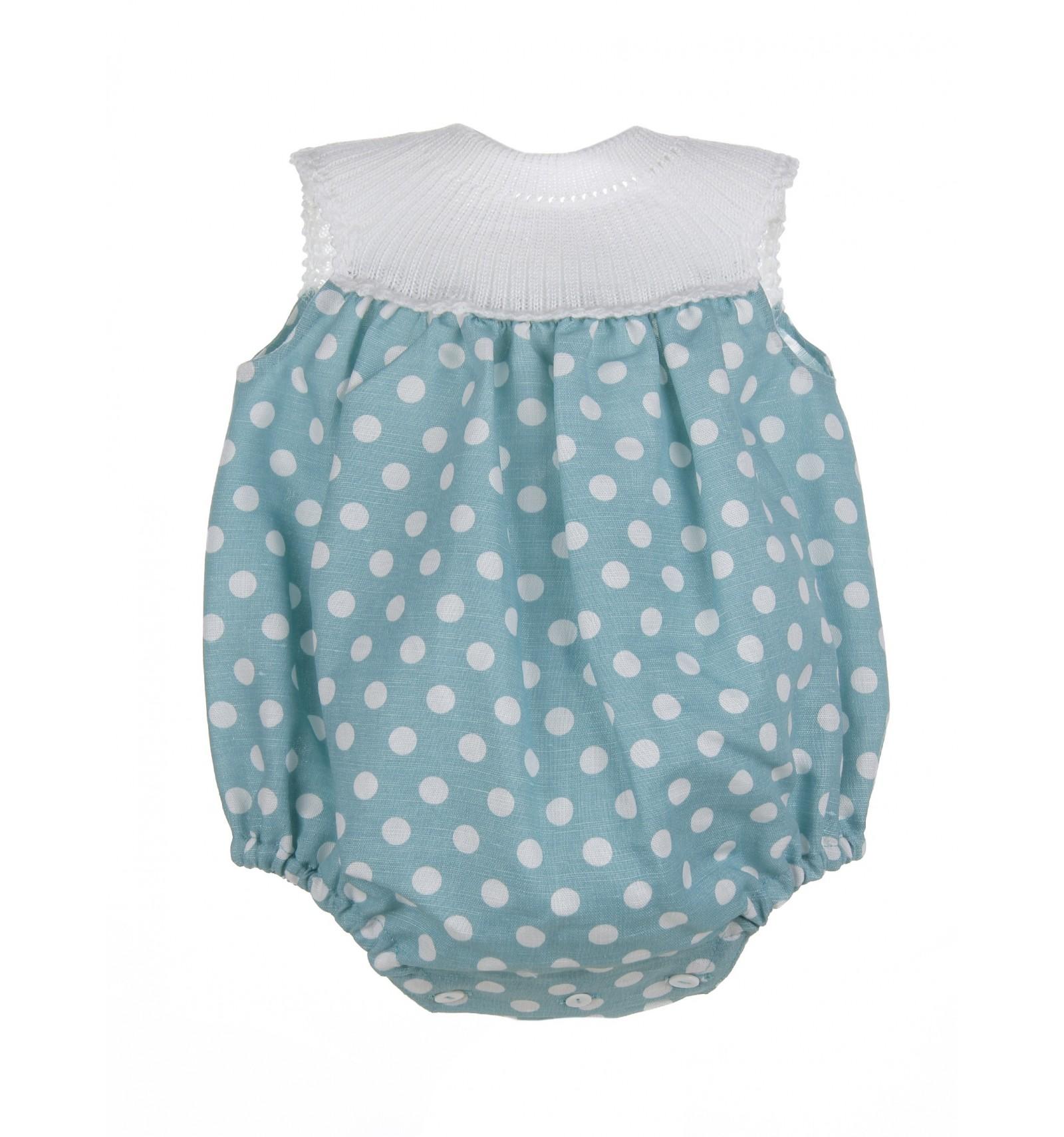 ffea8708a Ranita para bebé de lunares con canesú tejido en hilo de algodón.