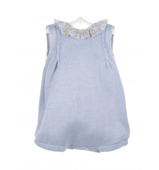 Pelele de algodón azul con volante estampado en el cuello