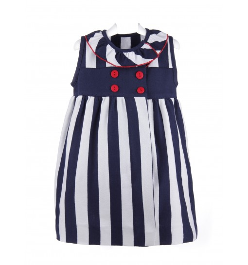 Vestido de rayas azul marino y blancas