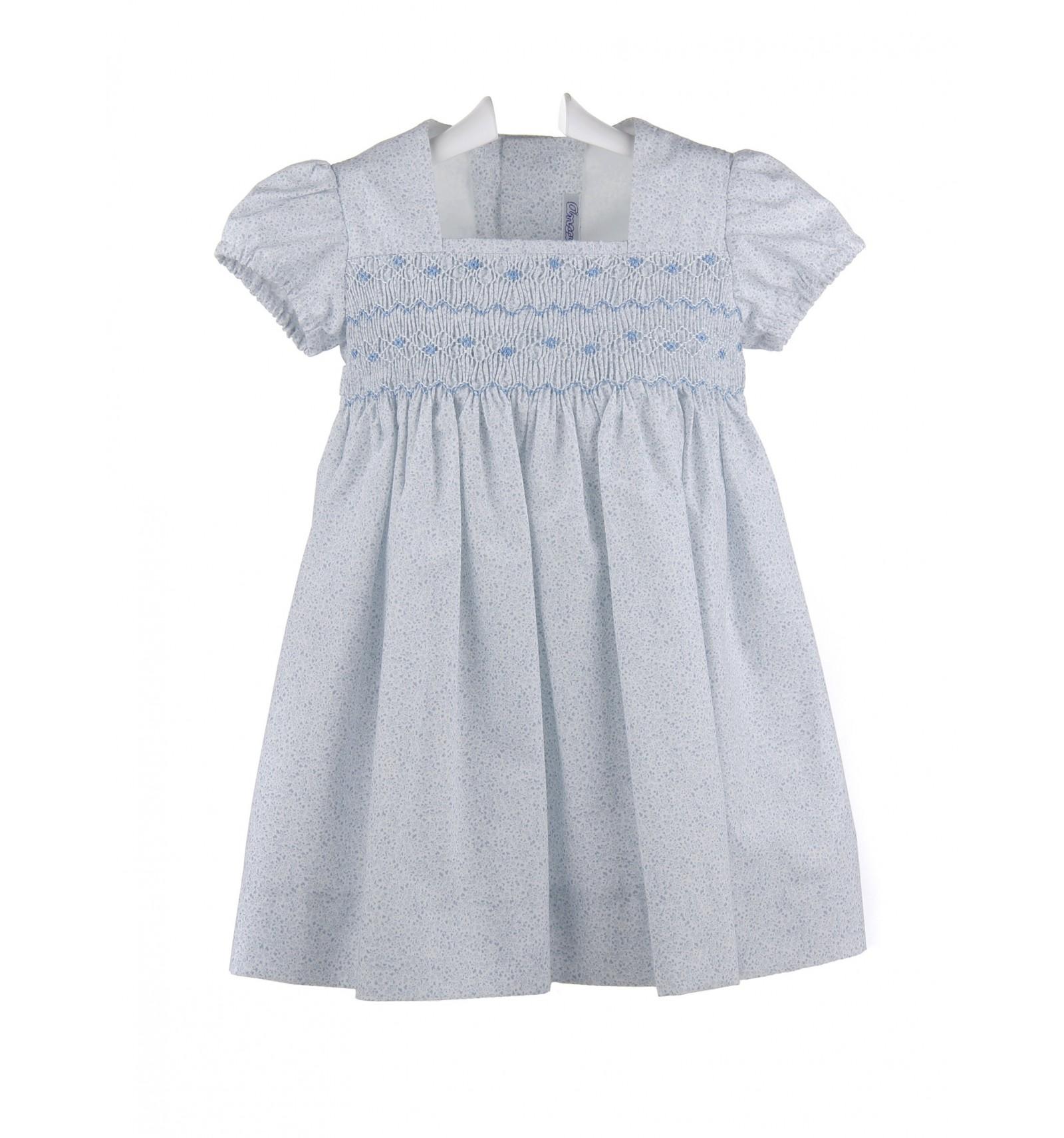 Vestido De Bebé E Infantil Estampado Con Punto De Smock