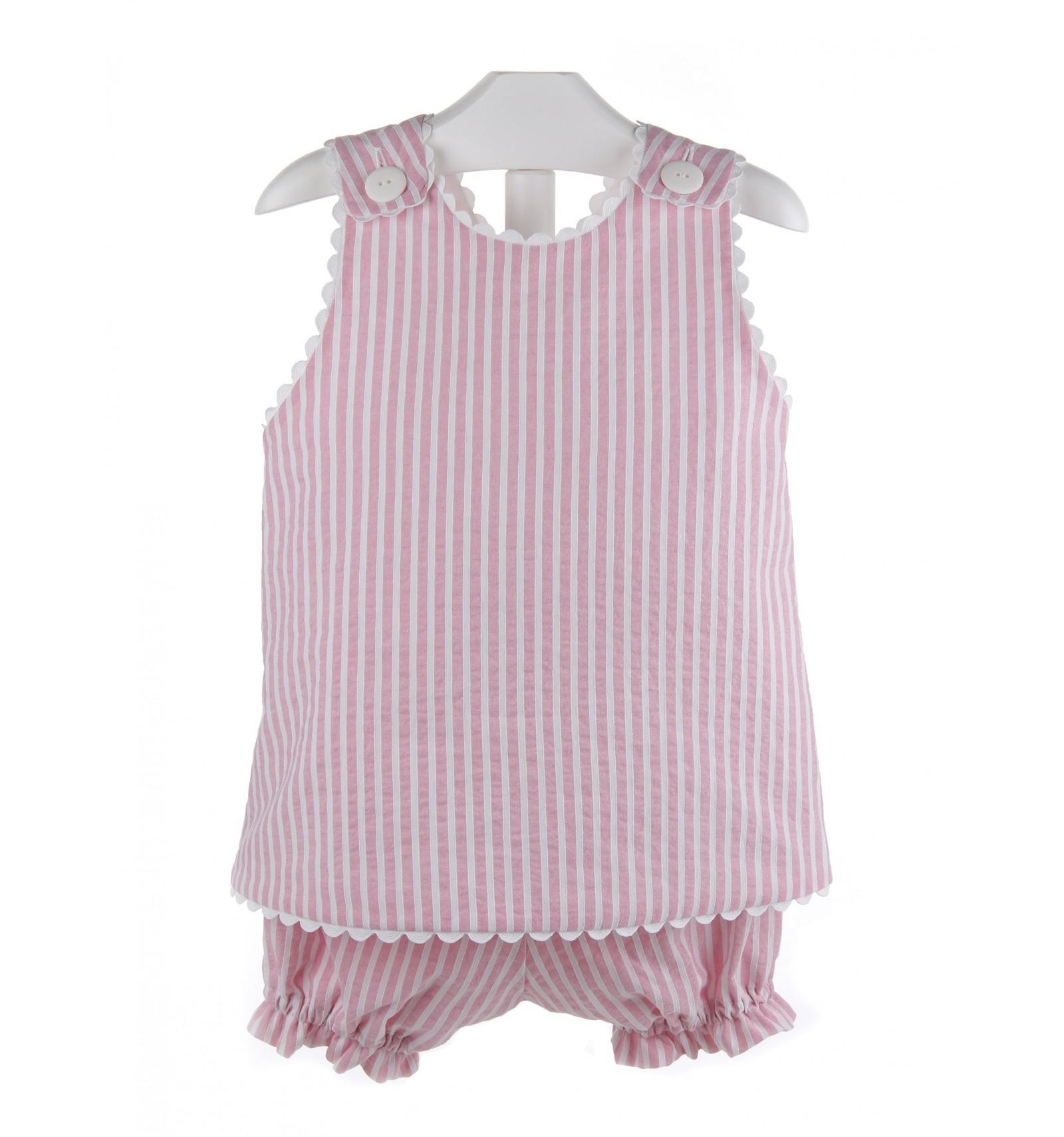5931b9f6fdd96 Conjunto para bebé de camisa y braguita de rayas con descuento.