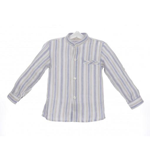 Camisa Mao de rayas azul, blanco y beige