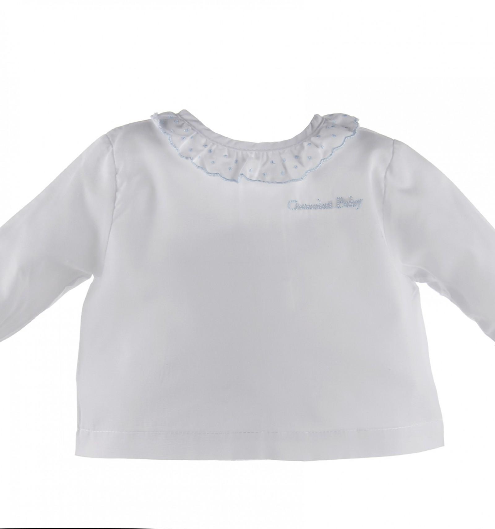 8245f909c Camisa de batista de manga larga con volante de plumeti para bebé