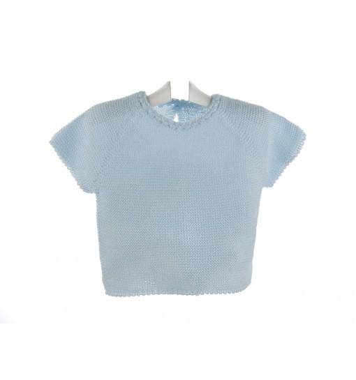 Jersey de algodón azul celeste de manga corta