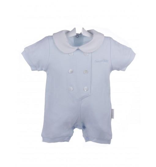 Pijama enterizo de bebé de verano con tapilla y cuello de piqué