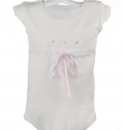 Body de bebé de verano marfil con bodoques bordados