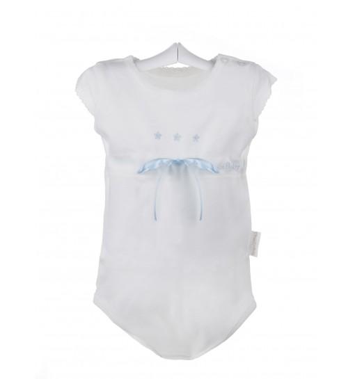 Body de bebé de verano de color marfil con estrellas bordadas