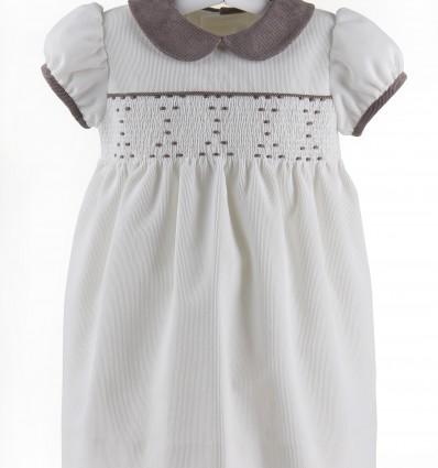 Vestido de micropana marfil