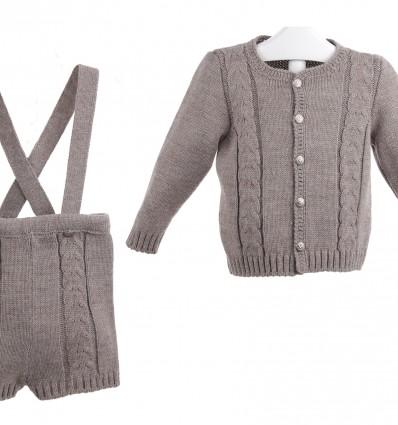 Conjunto de chaqueta y pantalón de lana con tirantes
