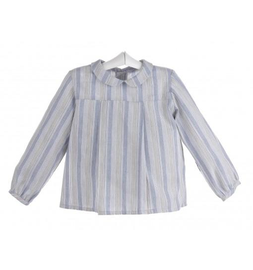Camisa de rayas de bebé con canesú y tabla central