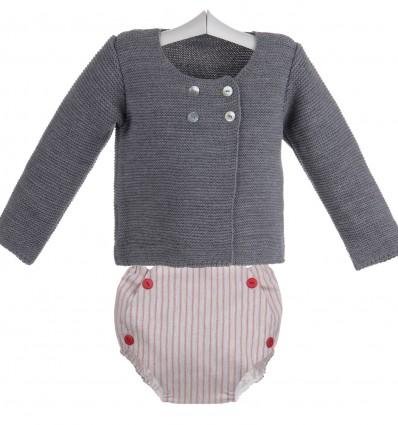 Conjunto de bebé de braguita de rayas rojas y chaqueta