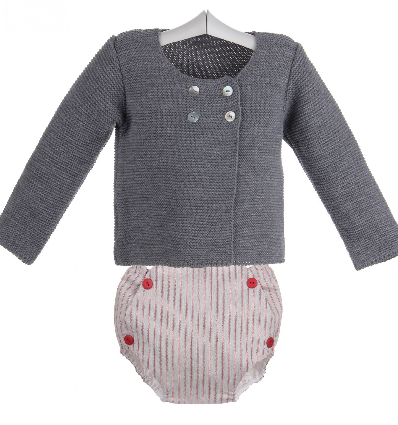 Conjunto para bebé de ranita y chaqueta cruzada de punto bobo 1dfa780236aa