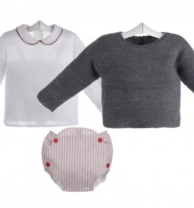 Conjunto de bebé de ranita de rayas,camisa de plumeti y jersey