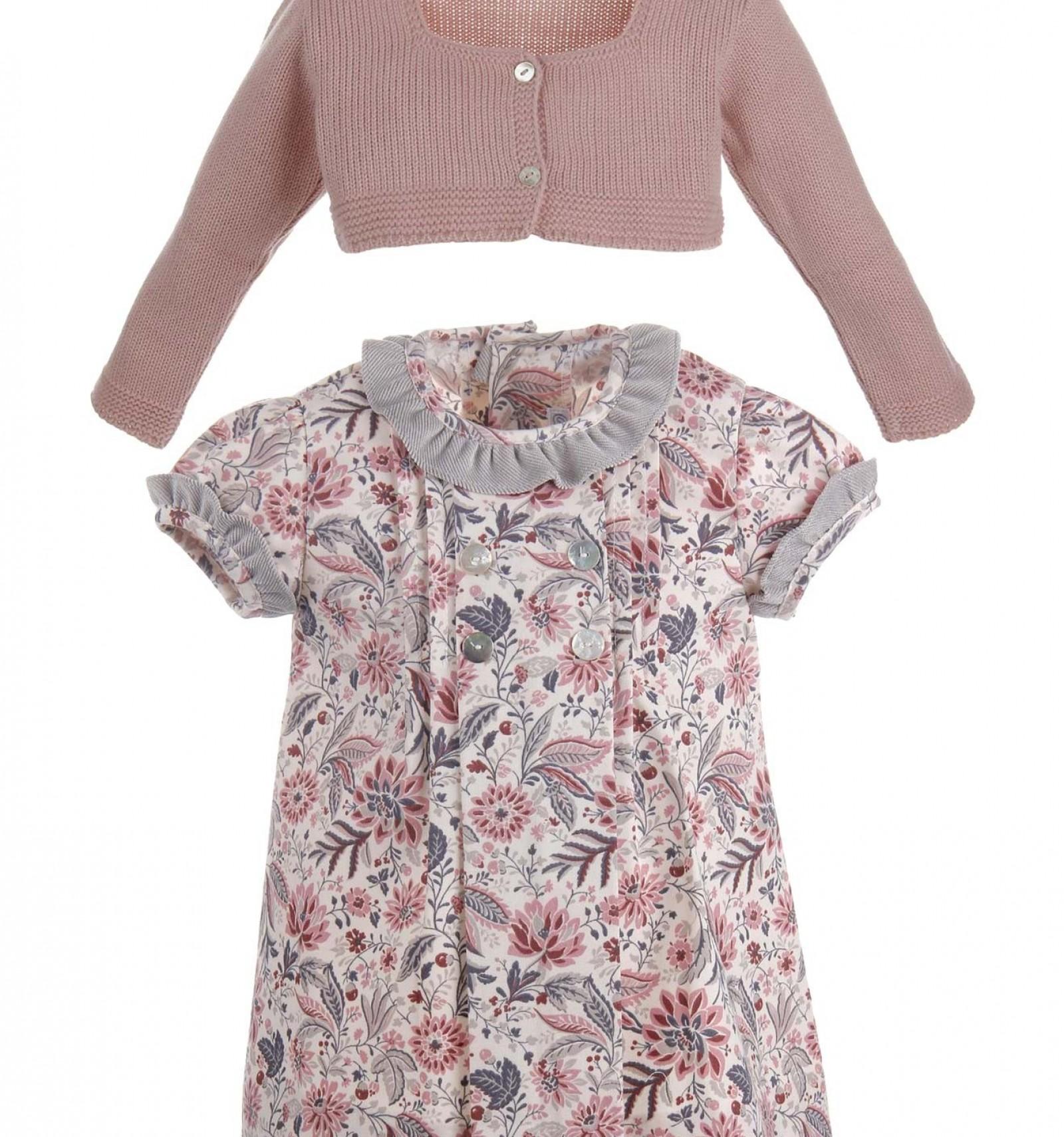 Conjunto Para Bebé De Vestido Estampado En Rosa Y Chaqueta