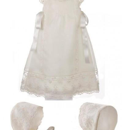 Faldón y capota para bebé de organza de seda y encaje de tul para bautizo y ceremonia