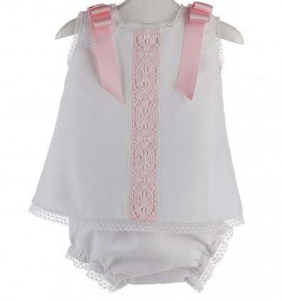 Vestido y braguita para bebé de piqué y encaje de bolillo