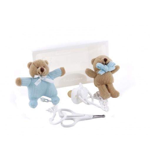 Maletin de regalo con ositos con chupete y tijeras para bebés