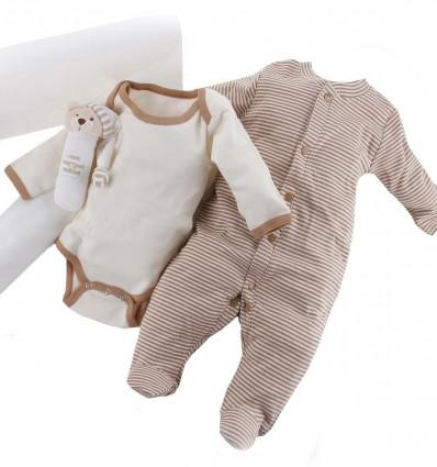 Maletin de regalo para recién nacido y bebé con pijama y body de algodón orgánico de invierno,manta y sonajero
