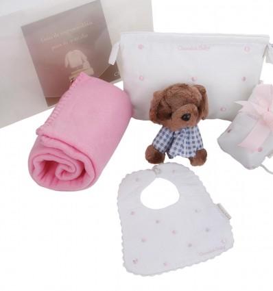 Maletin de regalo para recién nacidos y bebés con portachupete,manta,neceser,baberola y osito