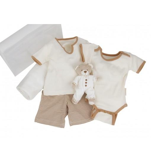 Maletin de regalo para bebés y recién nacidos de algodón orgánico de verano con pijama,body,mantita y osito