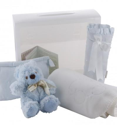 Maletin de regalo para recién nacidos y bebés con neceser,portabiberón,manta y oso de peluche