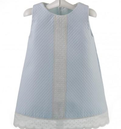Vestido para bebé de piqué con entredos y tirabordada beige