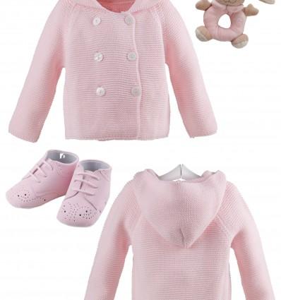 Abrigo de lana con capucha y botas de nobuk de Navidad