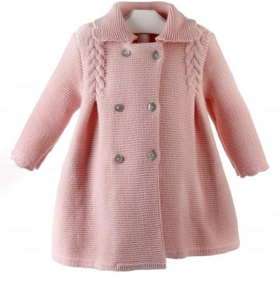 Abrigo de lana para niña de punto bobo con ochos y lazo zapatero
