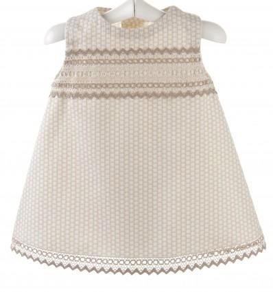 Vestido para bebé de piqué con entredoses de bolillo