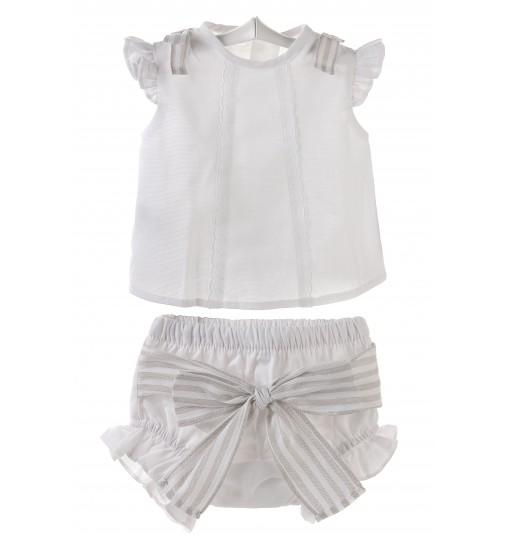 Conjunto para bebé niña de camisa y ranita