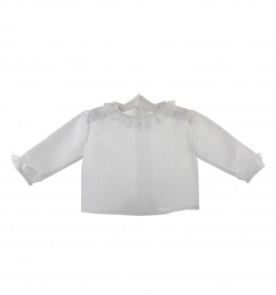 Camisa de ceremonia y bautizo para bebé con volante de encaje de Valencienne
