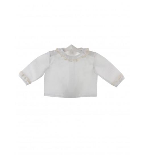 Camisa de ceremonia y bautizo para bebé con volante de encaje de Valencienne y batista
