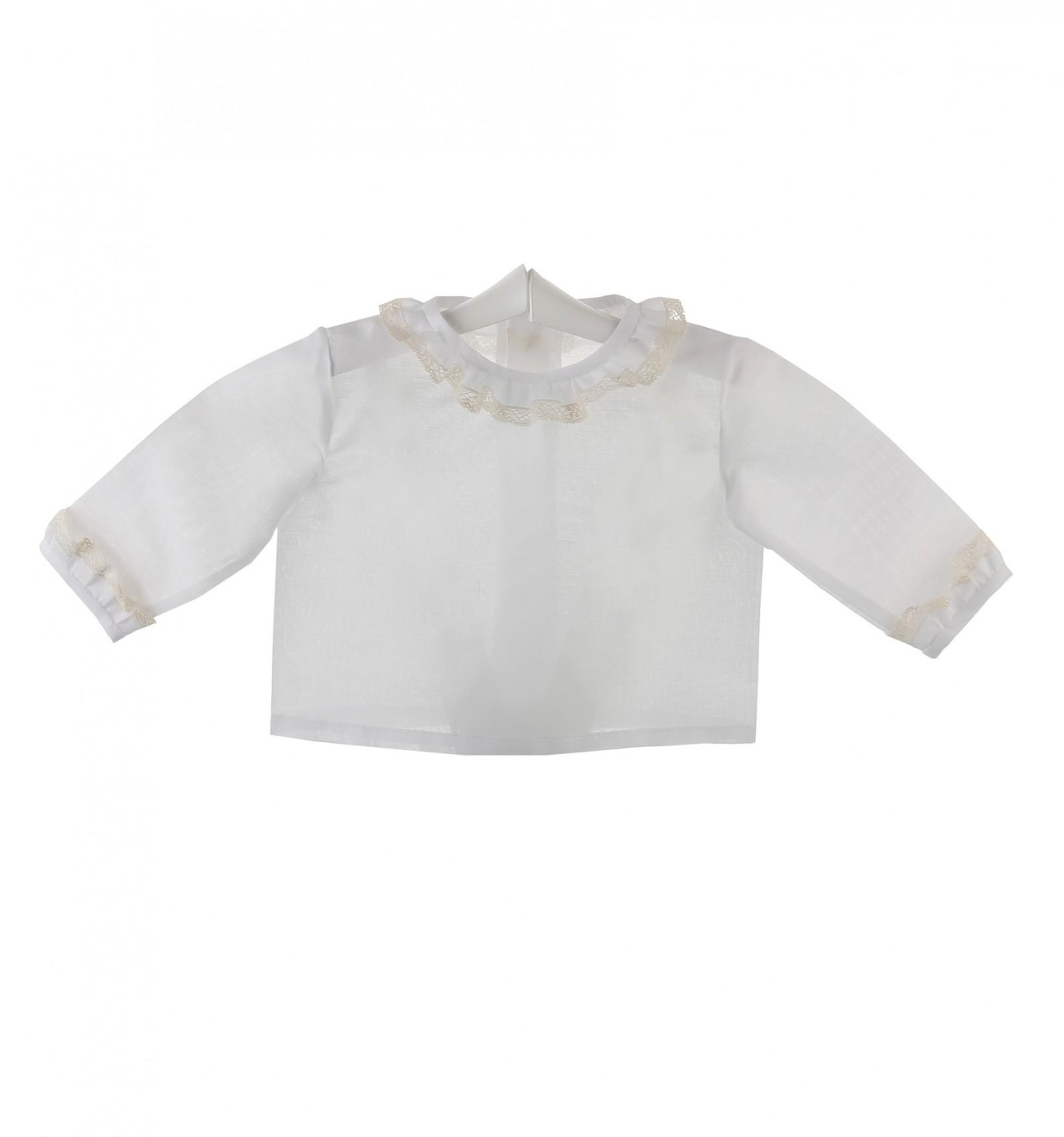 Camisa de ceremonia y bautizo para bebé con volante de encaje de Valencienne  y batista 094f026ad70
