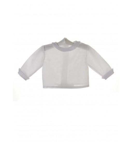Camisa de ceremonia y bautizo para bebé con volante plisado