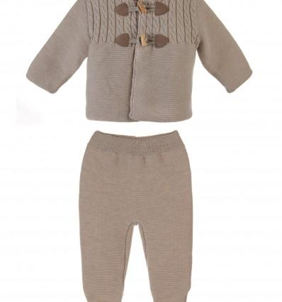 San francisco.Conjunto de chaqueta y polaina para bebé con canesú de ochos