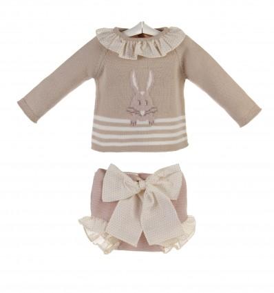 Conjunto para bebé de jersey con conejito y braguita
