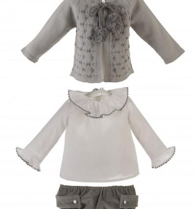 Conjunto para bebé de chaqueta,camisa y ranita de terciopelo