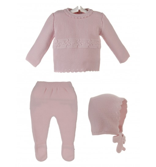 Conjunto para bebé de jersey,polaina y capota