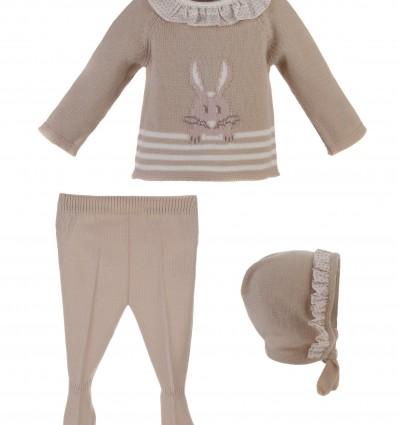 Conjunto para bebé de jersey con conejito,polaina y capota