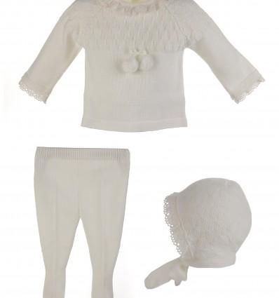Conjunto de ceremonia para bebé de jersey,polaina y capota marfil