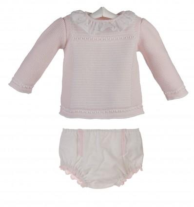 d6d12d05a Conjunto para bebe de jersey de lana y ranita de pique