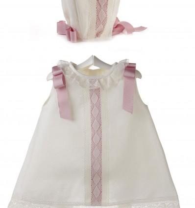 Conjunto de ceremonia y bautizo para bebé de vestido y capota de lino