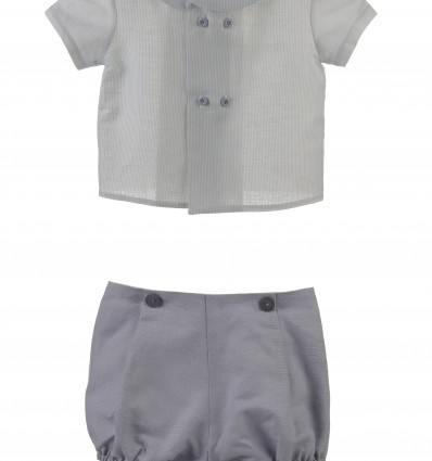 Conjunto de camisa y ranita para bebé de lino