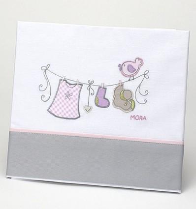 Juego de sábanas de cuna para bebé con tendedero bordado
