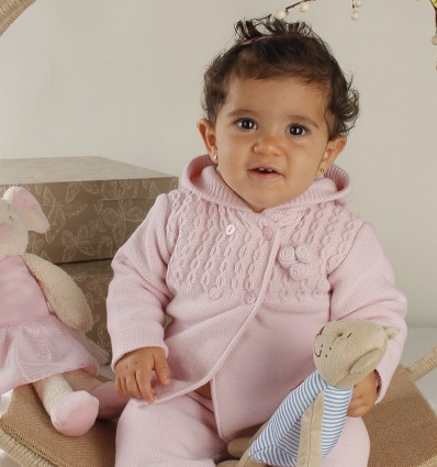 Conjunto de chaqueta y polaina para bebé rosa