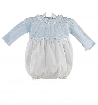 Ranita para bebé con cuerpo de lana y pantalón de plumeti