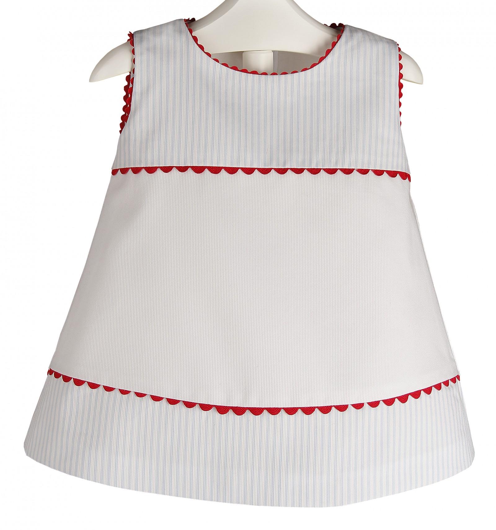 8fc0963fbae63 Vestido para bebé y niña de piqué de rayas y piculina roja